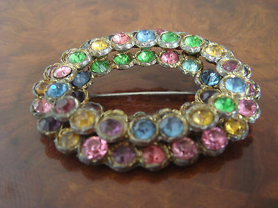 Beautiful Rare Antique Vintage Retro Sparkly Oval Brooch Pin Jewelry Jewellery