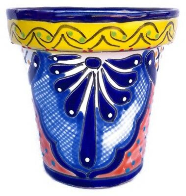 "Authentic Fine TALAVERA 10"" Planter Flower Pot Mexico Ceramic COLORFUL"