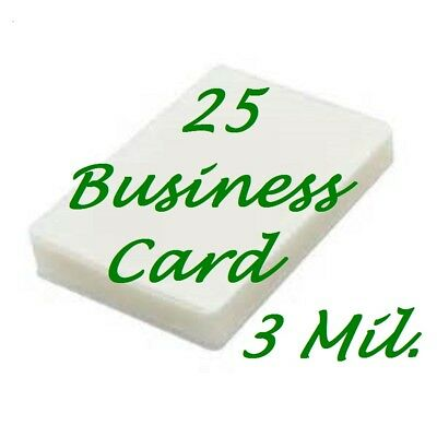 25 Business Card 3 Mil Laminating Pouches Laminator Sheets 2-1/4 x 3-3/4