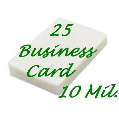25 Business Card 10 Mil Laminating Pouches Laminator Sheets 2-1/4 x 3-3/4