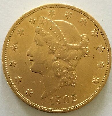 1902-S $20.00 Gold Liberty Head Coin Double Eagle Gold Coin  0.9613 ounces gold