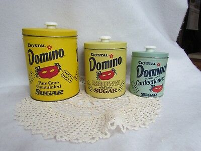 Set of 3 Vintage 1970's Domino Sugar Tin Canisters