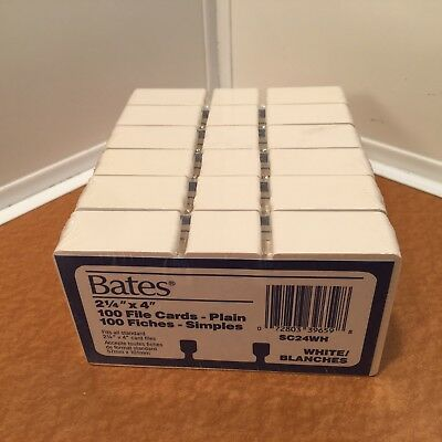 """Lot of New BATES 2 1/4"""" x 4"""" File Cards - Plain SC24WH White, 600 Total Cards"""