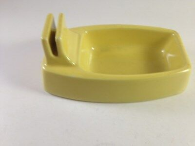 vintage hall bathtub ashtray with match holder, Yellow