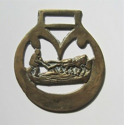 Horse Harness Brass Medallion Bridle Ornament - Man with Horse Drawn Plow (?)