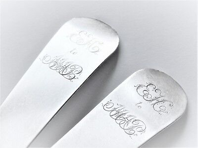 Pair coin silver tablespoon Guthre & Jefferis Wilmington Delaware gift inscribed