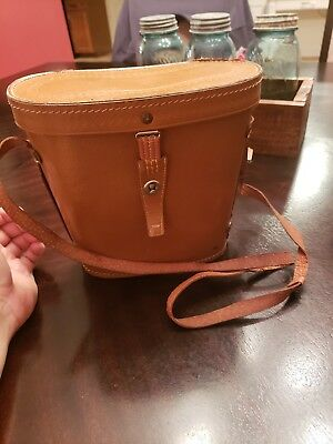 Vintage Leather BINOCULARS CASE Japanese bucket case free shipping!