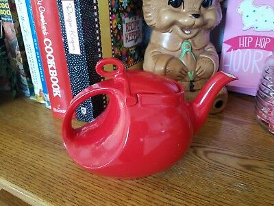 Vintage Hall China Red Streamline Teapot Loop Handle-Gorgeous!!