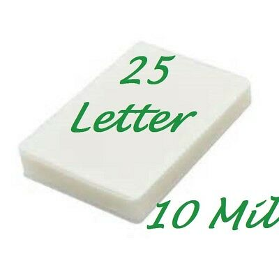 25 Letter 10 Mil Laminating Pouches Laminator Sheets 9 x 11-1/2 Scotch Quality
