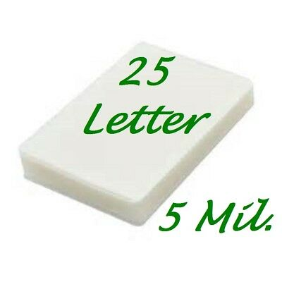 25 Letter 5 Mil Laminating Pouches Laminator Sheets 9 x 11-1/2 Scotch Quality