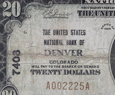 1929 $20 National Currency - Bank Of Denver -#7408  - Nice Note   •882