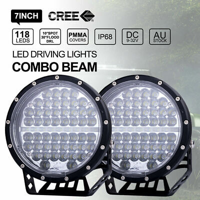 Pair 7inch CREE LED Driving Lights Round Off Road DRL COMBO Beam Black