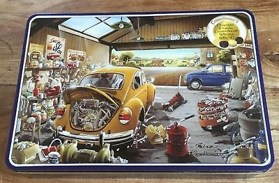 Car Biscuit Tin Connoisseur's Garage VW Embossed Raised Collectable 3D Empty Box