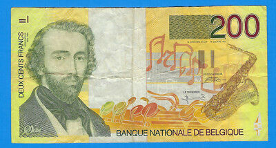 1995 Belgium 200 Cents Francs Saxophone Note P-148 World Currency Banknote
