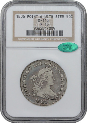 1806 O-115 Pointed 6 Stem Draped Bust Half Dollar - NGC F15 ** Great Eye Appeal