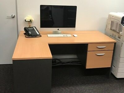 Beech / Ironstone Office Desk with Return (LHS) and Drawers (2)