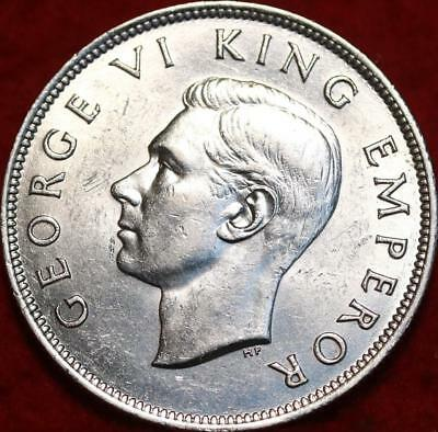 Uncirculated 1942 New Zealand 1/2 Crown Silver Foreign Coin