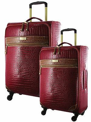 NEW Pierre Cardin 4 Wheel Soft Croc Luggage Case - SET OF 2 (PC2445)