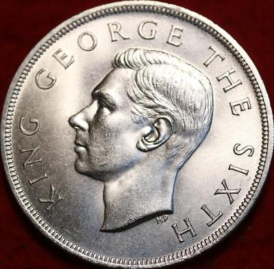 Uncirculated 1949 New Zealand Crown Royal Visit Silver Foreign Coin