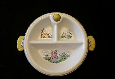 Vintage Little Bo Peep Child's Warming Dish with Bakelite handles