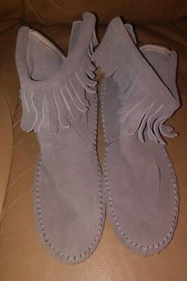 TAOS Handmade Grey Suede Fringe Ankle Moccasins Women's Size 8