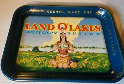 LAND O LAKES ADVERTISING TRAY VINTAGE METALS 1970-80's NATIVE AMERICAN MAIDEN