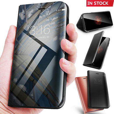 For iPhone X 8 7 Plus Clear View Mirror Leather Slim Flip Stand Case Cover
