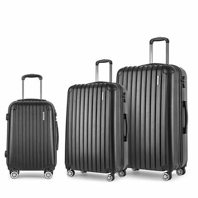 Hard Shell 3pc Suitcase Luggage Set Travel Bag Trolley TSA Lock Black Carry On