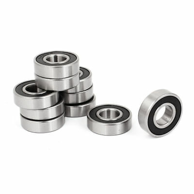 H● Double Rubber Seals Groove Wheel 6001-RS 6001RS Ball Bearing 12x28x8mm 10 Pcs