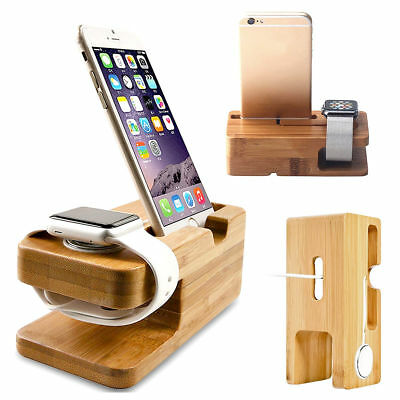 Bamboo Wooden Charging Station Charger Dock Stand Holder For Apple Watch iPhone