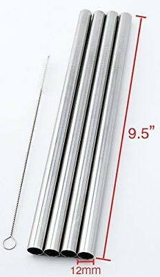 "4 Stainless Steel Straws Big Straw Extra Wide 1/2"" x 9.5"" Long Thick FAT -"