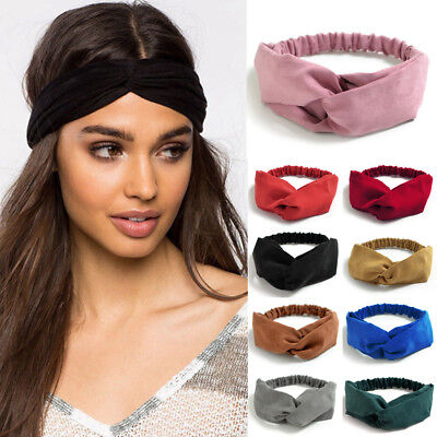 Women Girl's Faux Suede Nonslip Twist Knot Headband Elastic Hair Band Accs Gift