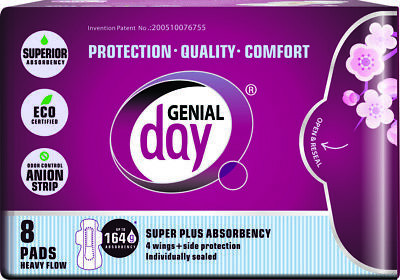 Genial Day, Super Absorbent Heavy Flow Pads 8 CT