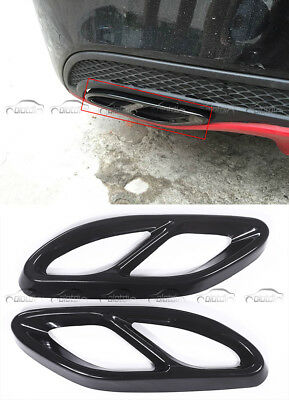 2Pcs Black End Tip Pipe Tail Throat Trim Fits For Mercedes Benz C Class W205