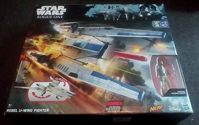 Star Wars Hasbro NERF Rogue One Rebel U-Wing Fighter Ship Cassian Figure RRP £60