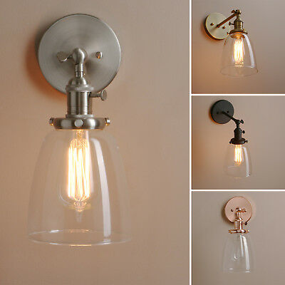 """5.6""""cloche Clear Glass Vintage Industrial Wall Lamp Sconce Loft Wall Light Decor"""
