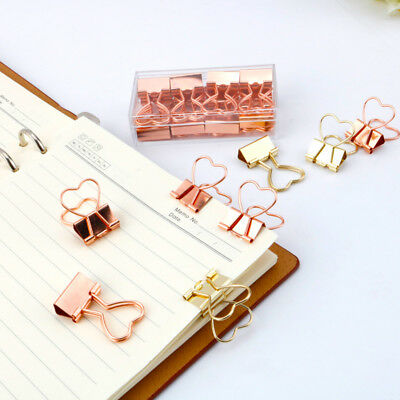 10pcs Gold Rose Gold Color Binder Clip Hollow Out Heart Shape Metal Binder Clips