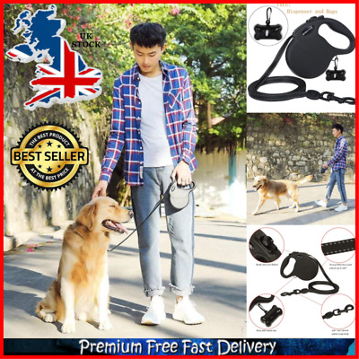 Heavy Duty Large Dog Extendable Retractable Dog Lead 5M for 50kg Dog w Waste Bag