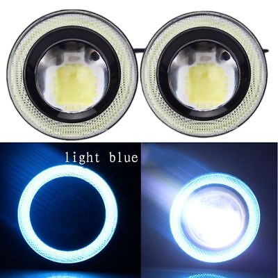 "2.5""/64mm LED COB Halo Angel Eye Rings Autos Fog Light Projector Lamps Lit Blue"