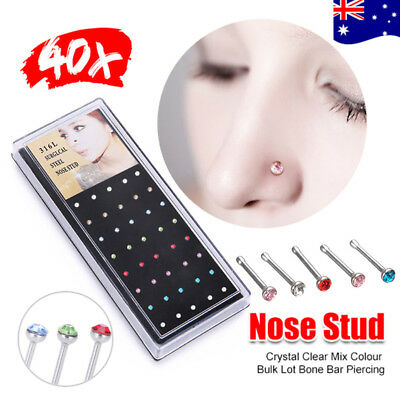 40x Nose Stud Crystal Clear Mix Colour Bulk Lot Bone Straight Stud Bar Piercing