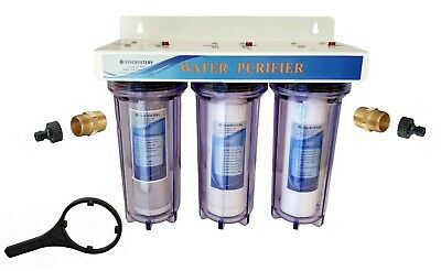 """Finerfilters 10"""" 3 Stage HMA - High Flow Pond Dechlorinator System with Hozelock"""