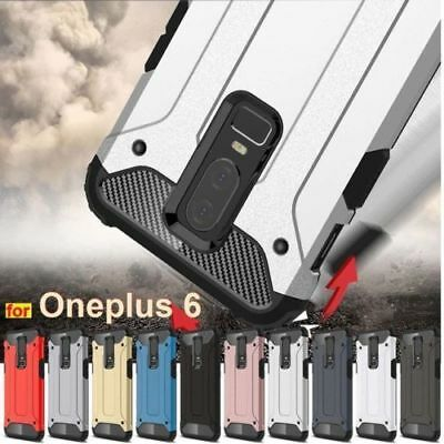 For Oneplus 6 Shockproof 360° Case Hybrid Armor Rubber+PC Cover+ Tempered Galss