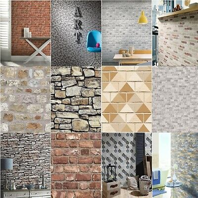 10M Vintage 3D Textured Brick Pattern Wallpaper Stone Wall Paper Retro Pattern