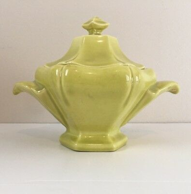 Red WIng Plum Blossom Pottery Sugar Bowl Citron Yellow