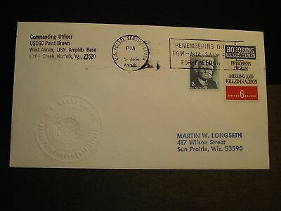 USCGC POINT BROWN WPB-82362 Naval Cover 1972 Embossed Cachet Norfolk, VA