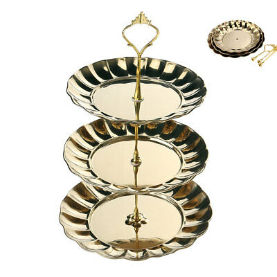 3 Tier Cupcake Cake Stand Stainless Steel Fruits Dessert Candy Serving Plates
