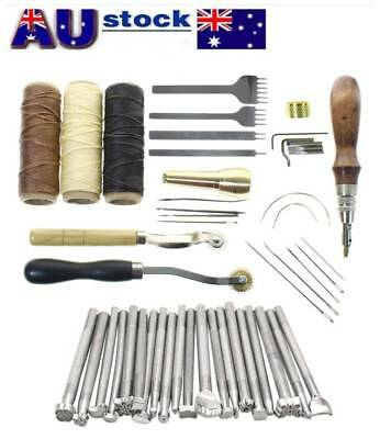 59Pcs Leather Craft Tools Kit Hand Sewing Stitching Punch Carving Work Saddle