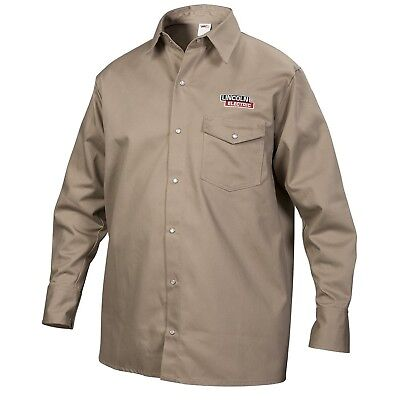 Lincoln Electric Khaki Medium Flame-Resistant Cloth Welding Shirt New