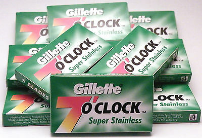 Gillette 7 O Clock SUPER Stainless 50 Double edge Razor Blades (Seconds)