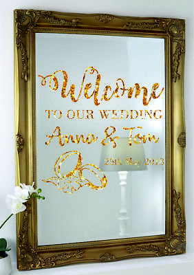 Custom Personalised Exlusive Sparkly Gold Wedding Mirror Wall Stickers Stiker